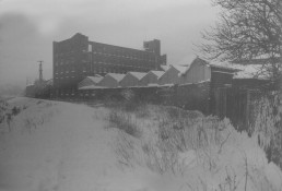 RIVERSIDE ROAD TANNERY SEEN FROM WINTERY TOWPATH
